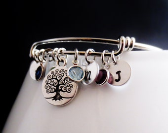 Personalized Initial Silver Bangle Charm Bracelet, Family Tree Birthstone Keepsake Cuff, Gold Disc Crystal, Mommy Jewelry, Grandma Bracelet