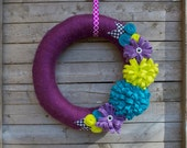 "Yarn Wreath, 14""  Wreath: Plum with Neon Felt Flowers and Houndstooth Felt Leaves"