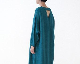 Woman Dress Cotton Dress Linen Dress Day Dress Loose Dress Long-sleeve Dress