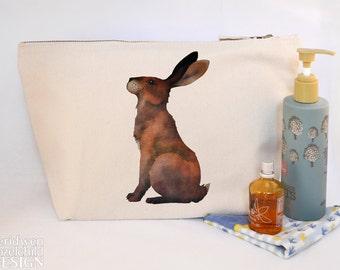 Hare Canvas Wash Bag, Large Zipper Pouch, Makeup Bag, Toiletry Bag, Accessory Bag
