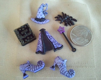 Witch Buttons Embellishments Purple Halloween Miniatures