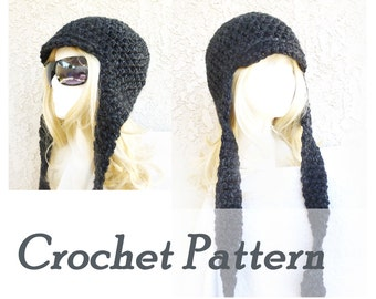 Instant Download Crochet Pattern - Warm winter hat with earflaps - Warm womens hat - Beginner Instructions - Night Watch Hat