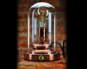 Steampunk Lamp - Edison Light - Copper Dome Light - Exceptional Quality - Custom Design -