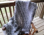 "Silver Orchid Afghan 64""x48"" Crochet Acrylic Washable Handmade Black Grey Lavender Chunky Thick Soft Primitive Decor"