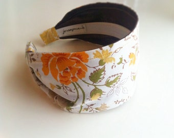Vintage sheet Headband Upcycled vintage sheets - vintage sheet vintage fabric recycled headband - orange yellow roses unique head bands