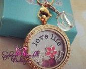Customized Floating Locket on Chain Necklace- Includes ONE Stamped Plate, ONE Dangle and TWO charms of your choice