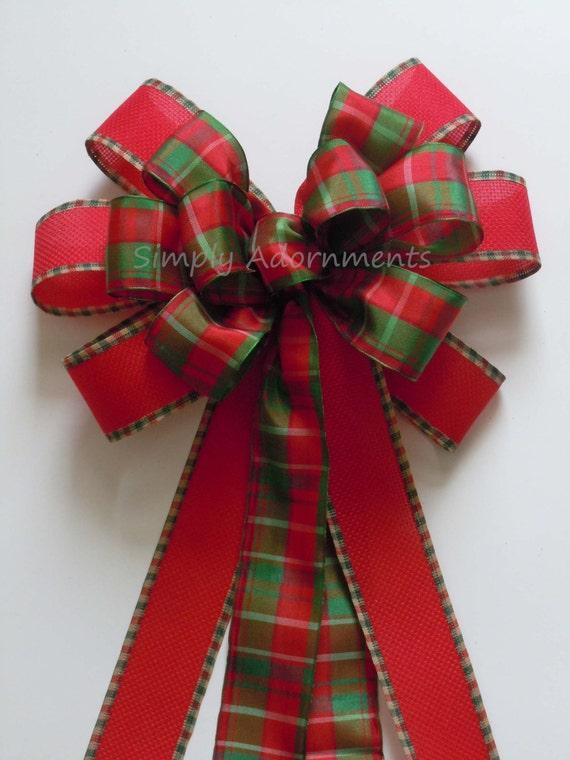 Red Green Plaid Tartan Christmas Tree Bow By