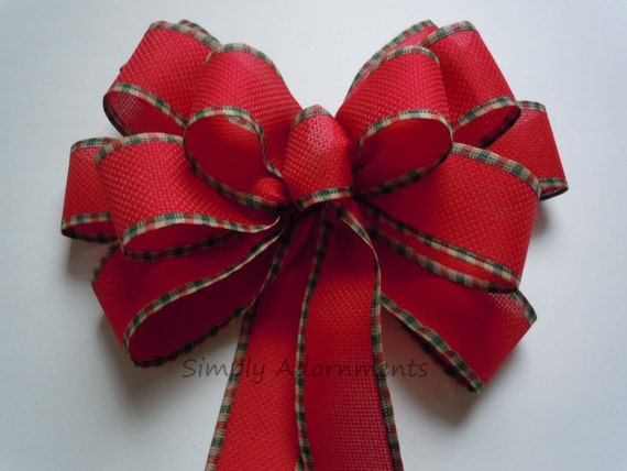 Rustic Country Burlap Bow Red Green Plaid Christmas Wreath Bow Red Door Hanger Winter Wedding Pew Bow Garland Swag Bow Christmas Gift Bow