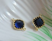 6pcs gold  plated,  ink blue   , square Glass , framed bead