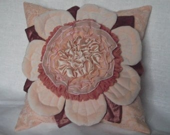 Decorative Throw Pillow Cover Ruffled Flower Blush Salmon Cushion Case in Shabby Chic Style 16 x 16