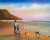 Fishing with Dad - Oil on Canvas Panel - 8 x 10 inches
