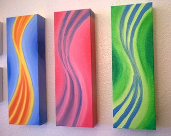 Abstract Decor TRIO #1 - Oil on Stretched Deco Canvas - Gallery Style - Custom Order