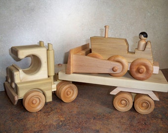 Handmade Wooden Cab-over style semi truck with Bulldozer