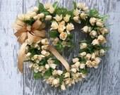 Rose Wreath, Heart Wreath, Spring Wreath, Wedding Wreath, Yellow Wreath, Valentines Day Wreath, Mother's Day Wreath