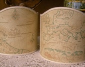 Pair of Wall Sconce Clip-On Shield Shades Old World Map Parchment Mini Lampshade - Handmade in Italy