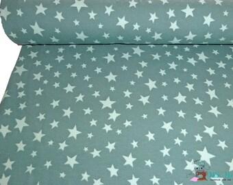 0,5 x 1,5 m cotton knit jersey fabric STARS, 95/5% cotton/spandex, dark mint green