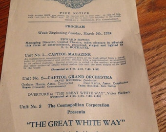 The Great White Way Silent Movie Program - 1924