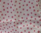 Pink and White Stars, Nautical, Star Fabric, Yardage, Cotton Fabric