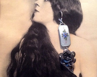Blue Rose Earrings 1930's Bridal Jewelry Sterling Guilloche Enamel Romantic Bride Wedding Jewelry