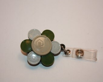 Upcycled Recycled Retractable Flower ID Badge Holde, Clip Made From Flip Off Caps From Medication Vials, Medical, Nurse, RN, Aide, CNA