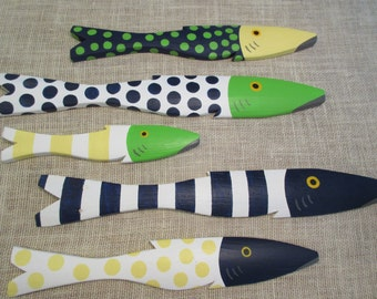 School of 5 Hand Painted Picket FISH Art Reclaimed Wood Beach Cottage Cabin Decor
