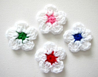 "4pcs 2"" Crochet Five Petal FLOWER Applique"