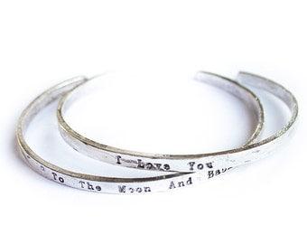 "To the moon and back"" Silver 2 piece Friendship bracelet bangle cuff boho bohemian"