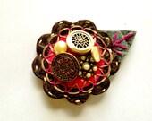 Felt Flower Pin Brooch for Women Jewelry Re-purposed Fuschia Brown Cream
