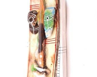 Ceramic wall art mask, Ceramic Mask, Original mask, 3D wall art,  Handmade sculpture of head,  Ceramic home decor