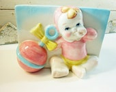 Vintage Pink and Blue Nursery Planter Baby with Rattle
