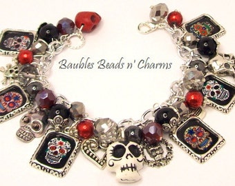 Sugar Skulls Charm Bracelet Jewelry, Day of the Dead Charm Bracelet Jewelry, Dia de Muertos