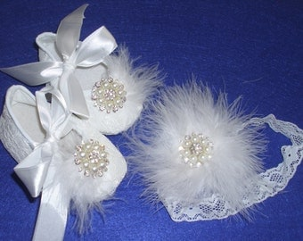 Baby Infant Girl White Lace Baptism Headband and Shoes with Feathers and Crystal / Pearl Button Set or Separate