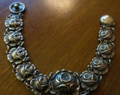 Cabbage rose silver charm bracelet....sweet and delicate 7.25 inches long
