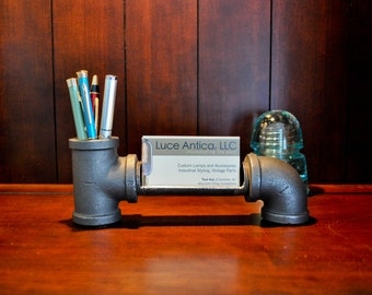 Large Business Card and Pen Holder Made From Iron Pipe Industrial Styling