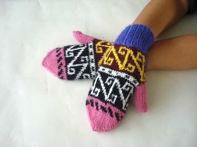 Knit Mittens Gloves Pink Purple Geometric Womens Gloves Unique-2225