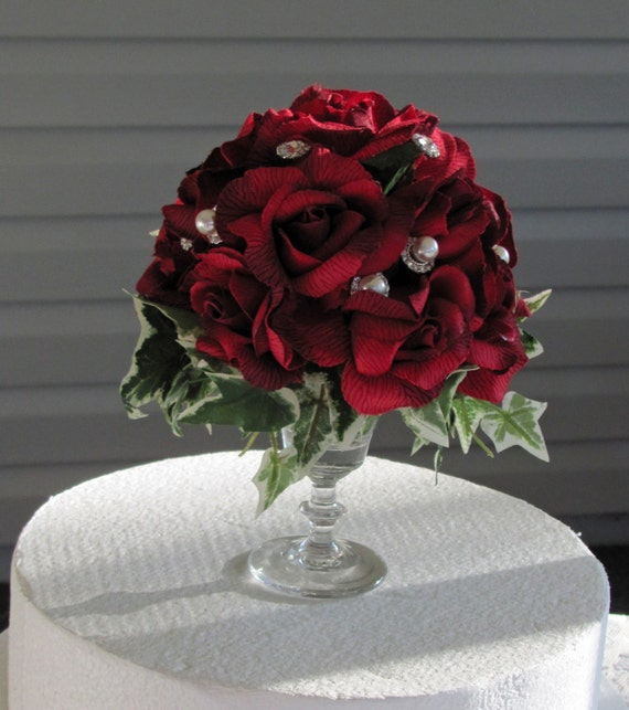 wedding cakes with red roses and bling wedding cake topper roses amp bling speical request for 26098