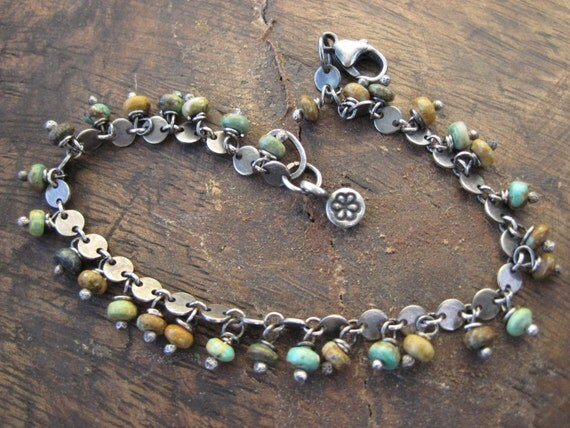 Turquoise Charm Bracelet with a Bohemian Edge
