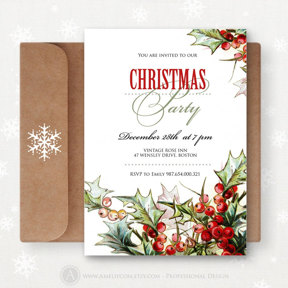 Christmas Party Invites: Printable Christmas Invitations Editable Invites Xmas Party