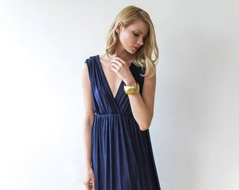 Maxi navy blue bridesmaids dress, Maxi engagement dress with short sleeves