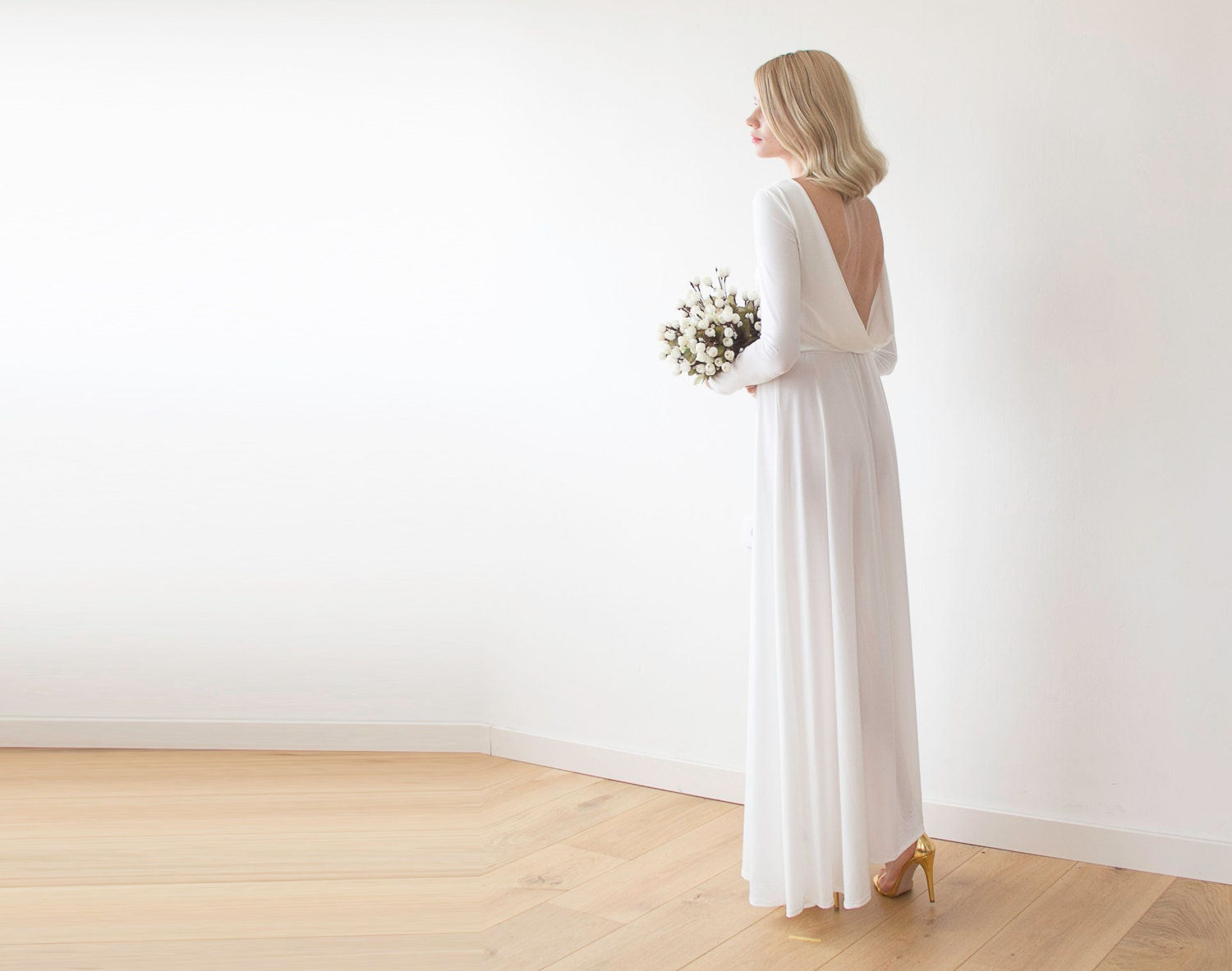 Open back maxi ivory dress Long sleeves wedding by