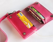 Pink leather  iPhone wallet  wristlet  with mini zipper