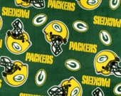 ℳ Fleece Designer Sports Fabric NFL Licensed Brand Green Bay Packers Tossed 60 Inch Wide Fabric by the Yard, 1 yard