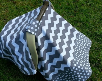Baby Car Seat Cover in Dark Gray Chevron and Polka Dots // Baby Car Seat Canopy // Baby Car Seat Tent // Gray Chevron Car Seat Cover