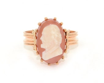 Antique Ring - Cameo Ring - Antique Cameo Ring - Antique 14k Rose Gold Cameo Stone Ring