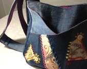 RESERVED for Michelle - Crazy Quilted, Hand Embroidered Crossover Bag - Blue denim and colorful embroidered patches
