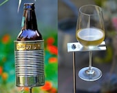 Hobo Tin Can Beer Holder + Boho Wine Glass Holder/  Beer + Wine Garden Drink Holder Set