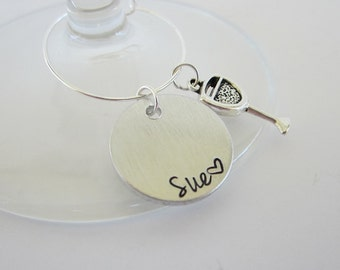 Hand Stamped Personalized Wine Charm with Name Heart and Wine Glass Charm / Custom Wine Charms / Custom Name Wine Charms / Custom Wine Charm