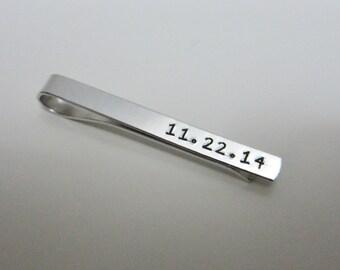 Hand Stamped Date Tie Bar- Custom Wedding Date Tie Bar - Gift for Groom - Wedding Gift - Groomsman - Wedding Keepsake
