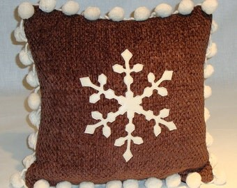 """Winter White Leather Snowflake Pillow on Brown Chenille w/Vintage Pom-Poms and Woven Plaid Back. 12"""" x 12"""" w/Down Fill (In Stock!)"""