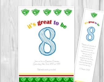 Great to be 8 editable invitation and bookmark: Baptism Preview, Editable, DIY, LDS, Primary great to be 8, invite, bookmark